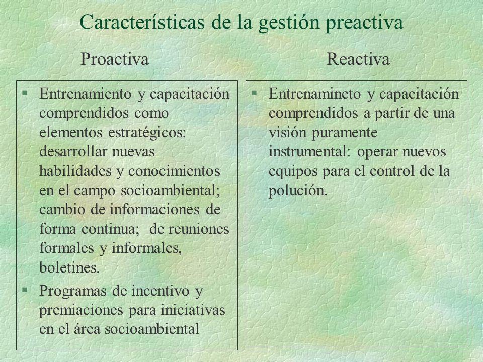 Características de la gestión preactiva §Entrenamiento y capacitación comprendidos como elementos estratégicos: desarrollar nuevas habilidades y conoc
