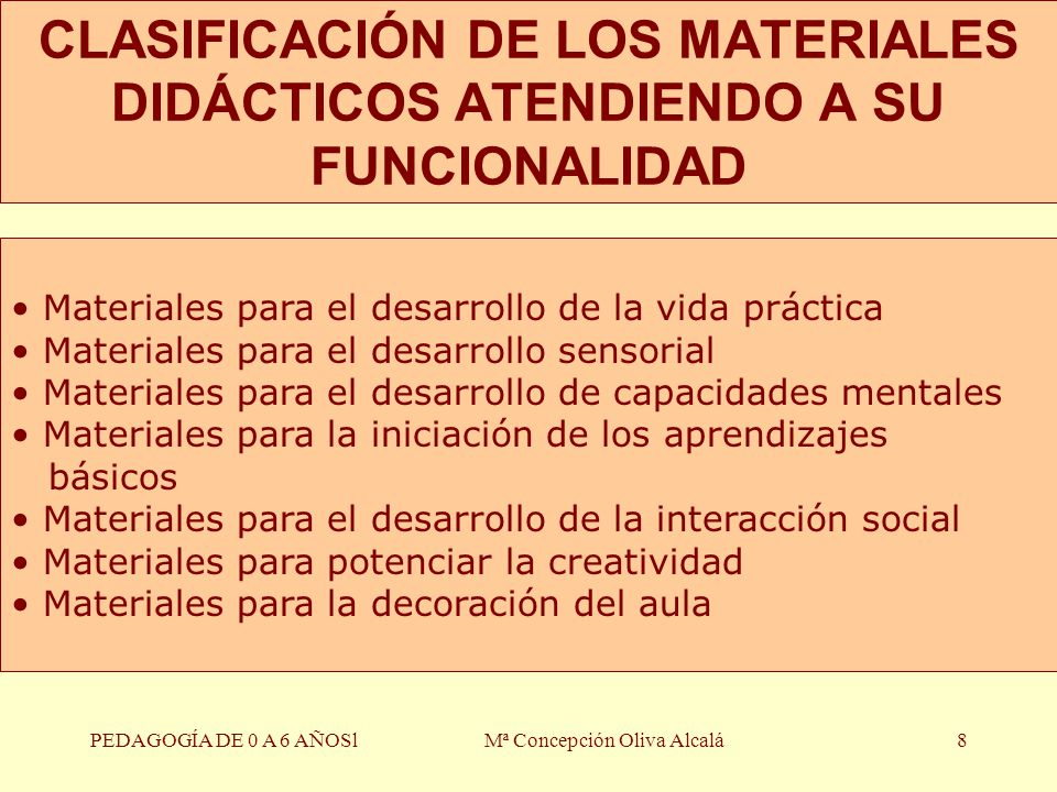 PEDAGOGÍA DE 0 A 6 AÑOSlMª Concepción Oliva Alcalá8 CLASIFICACIÓN DE LOS MATERIALES DIDÁCTICOS ATENDIENDO A SU FUNCIONALIDAD Materiales para el desarr