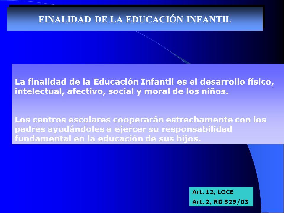 FINALIDAD DE LA EDUCACIÓN INFANTIL La finalidad de la Educación Infantil es el desarrollo físico, intelectual, afectivo, social y moral de los niños.