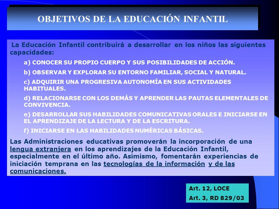 OBJETIVOS DE LA EDUCACIÓN INFANTIL La Educación Infantil contribuirá a desarrollar en los niños las siguientes capacidades: a) CONOCER SU PROPIO CUERP