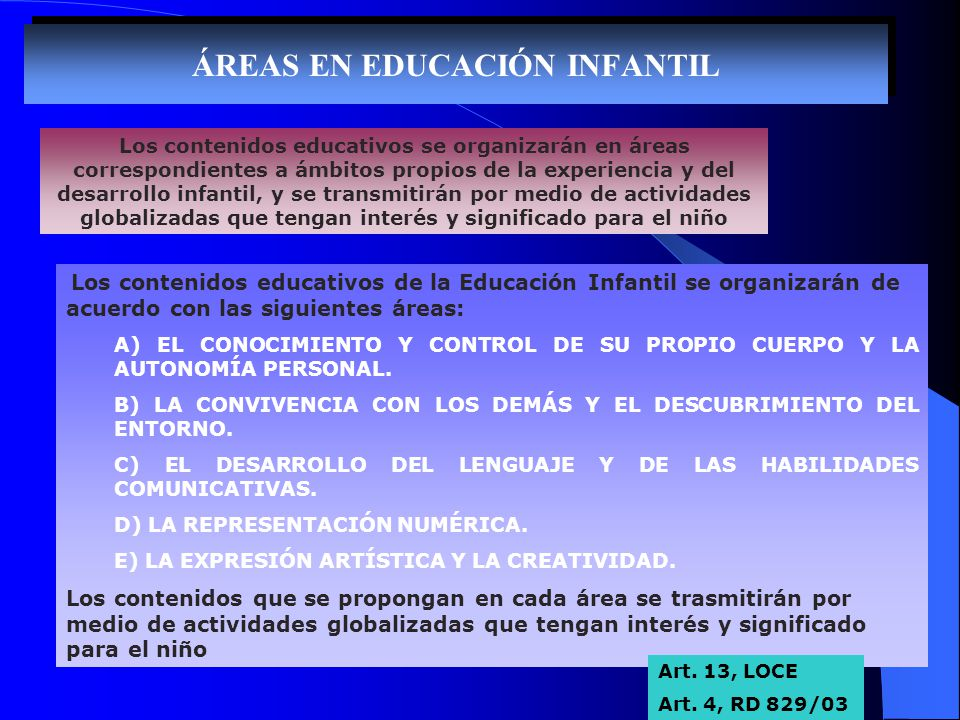 ÁREAS EN EDUCACIÓN INFANTIL Los contenidos educativos de la Educación Infantil se organizarán de acuerdo con las siguientes áreas: A) EL CONOCIMIENTO