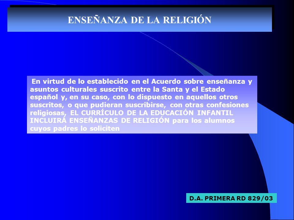 ENSEÑANZA DE LA RELIGIÓN En virtud de lo establecido en el Acuerdo sobre enseñanza y asuntos culturales suscrito entre la Santa y el Estado español y,