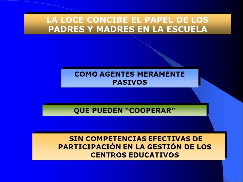 QUE PUEDEN COOPERAR COMO AGENTES MERAMENTE PASIVOS SIN COMPETENCIAS EFECTIVAS DE PARTICIPACIÓN EN LA GESTIÓN DE LOS CENTROS EDUCATIVOS LA LOCE CONCIBE