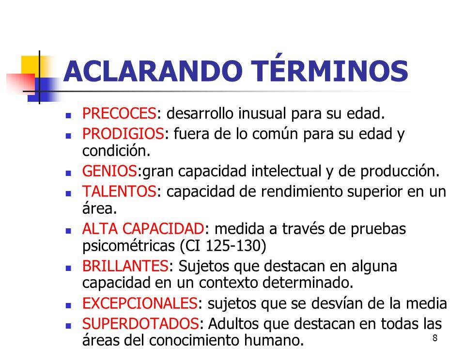 8 ACLARANDO TÉRMINOS PRECOCES: desarrollo inusual para su edad.