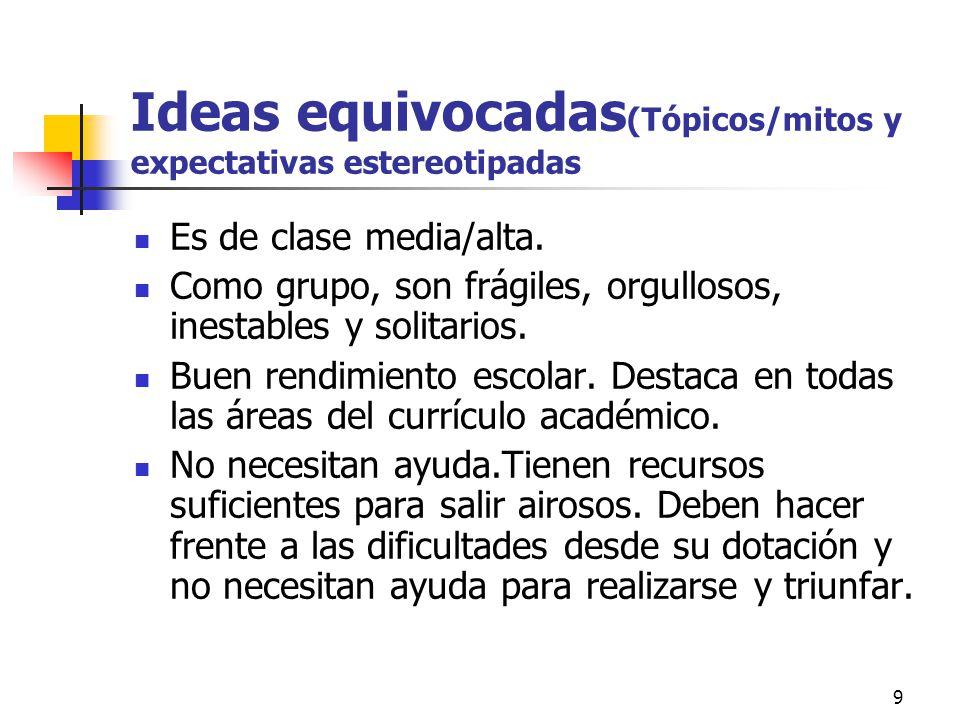 9 Ideas equivocadas (Tópicos/mitos y expectativas estereotipadas Es de clase media/alta.