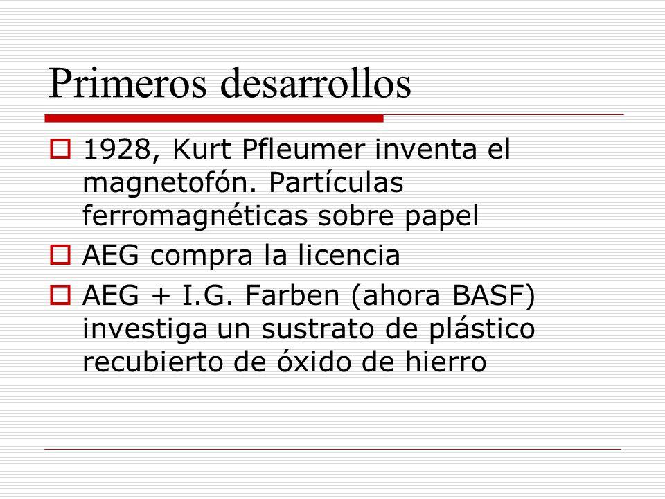 Primeros desarrollos 1928, Kurt Pfleumer inventa el magnetofón. Partículas ferromagnéticas sobre papel AEG compra la licencia AEG + I.G. Farben (ahora
