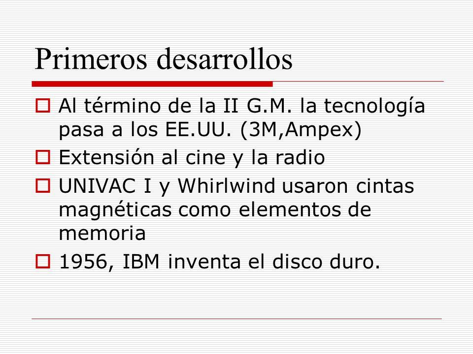 Primeros desarrollos Al término de la II G.M. la tecnología pasa a los EE.UU. (3M,Ampex) Extensión al cine y la radio UNIVAC I y Whirlwind usaron cint