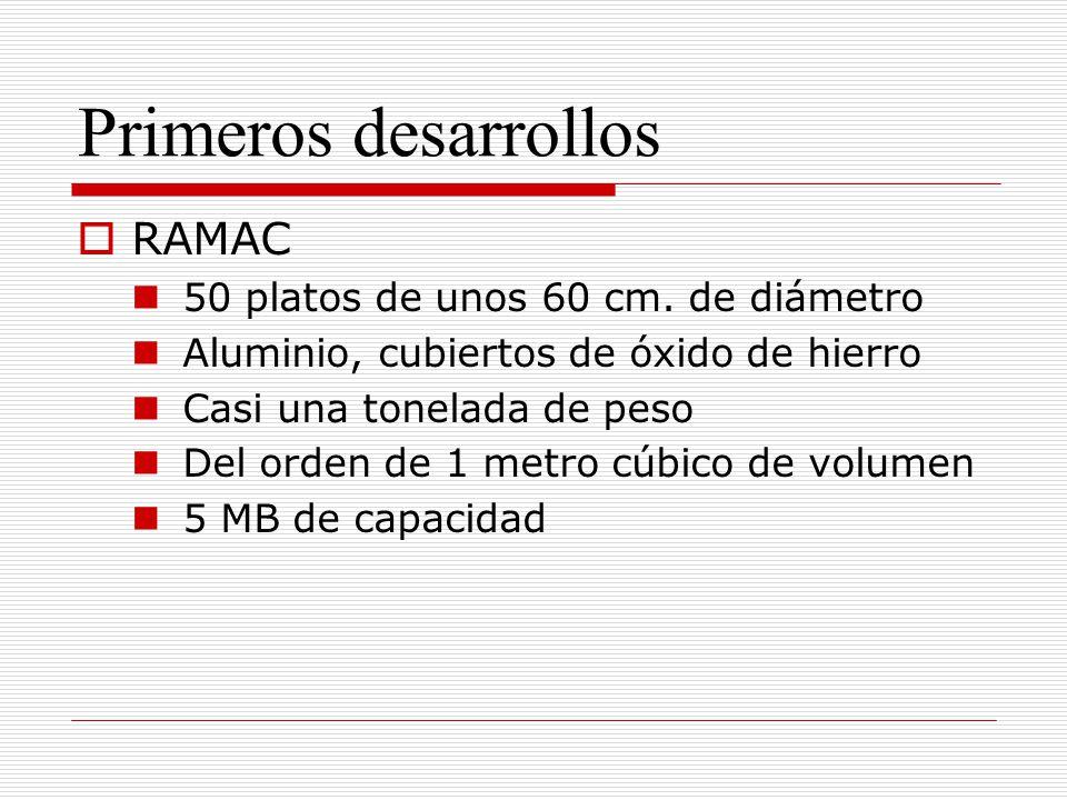 Primeros desarrollos RAMAC 50 platos de unos 60 cm.