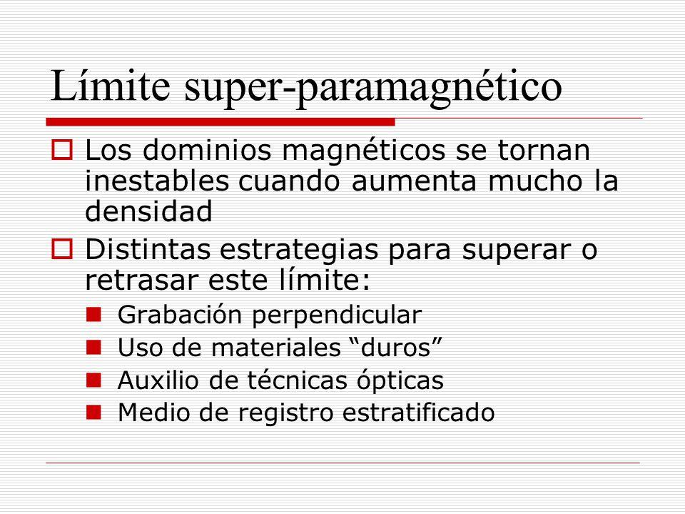 Límite super-paramagnético Los dominios magnéticos se tornan inestables cuando aumenta mucho la densidad Distintas estrategias para superar o retrasar