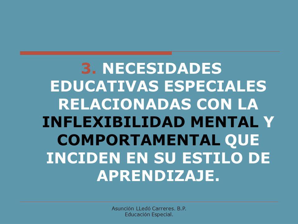 Asunción LLedó Carreres. B.P. Educación Especial. 3. NECESIDADES EDUCATIVAS ESPECIALES RELACIONADAS CON LA INFLEXIBILIDAD MENTAL Y COMPORTAMENTAL QUE