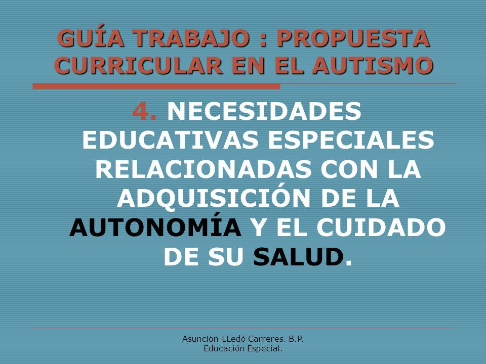 Asunción LLedó Carreres. B.P. Educación Especial. GUÍA TRABAJO : PROPUESTA CURRICULAR EN EL AUTISMO 4. NECESIDADES EDUCATIVAS ESPECIALES RELACIONADAS