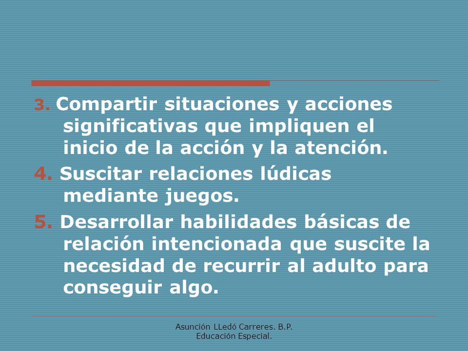 Asunción LLedó Carreres. B.P. Educación Especial. 3. Compartir situaciones y acciones significativas que impliquen el inicio de la acción y la atenció