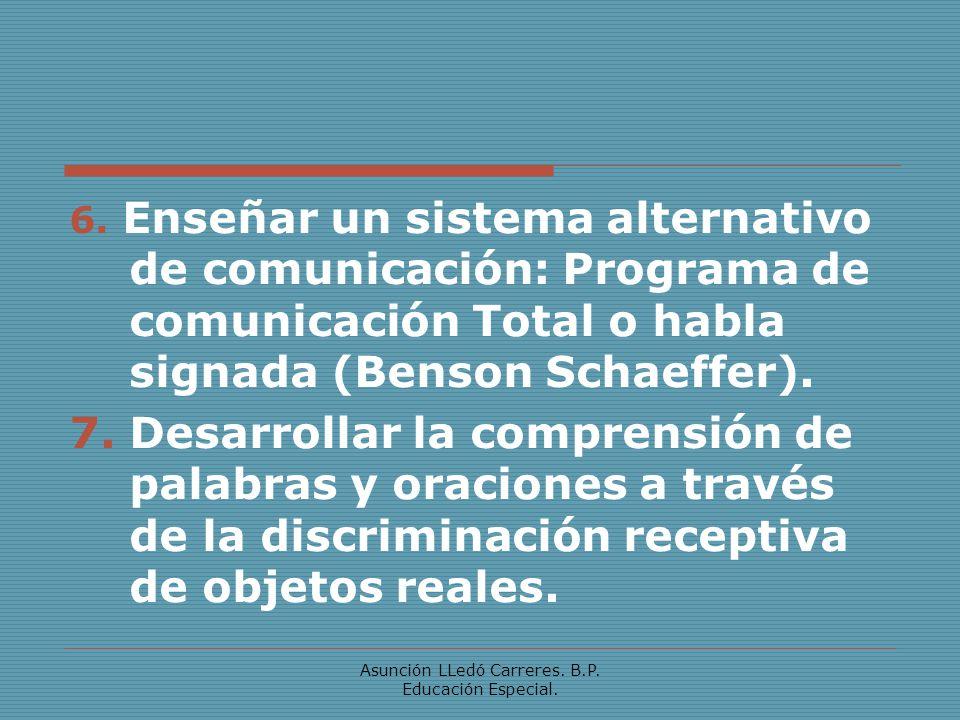 Asunción LLedó Carreres. B.P. Educación Especial. 6. Enseñar un sistema alternativo de comunicación: Programa de comunicación Total o habla signada (B