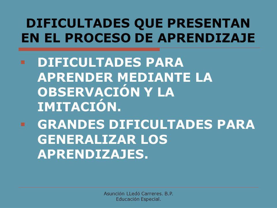 Asunción LLedó Carreres.B.P. Educación Especial. DIFICULTADES PARA LA RESOLUCIÓN DE PROBLEMAS.