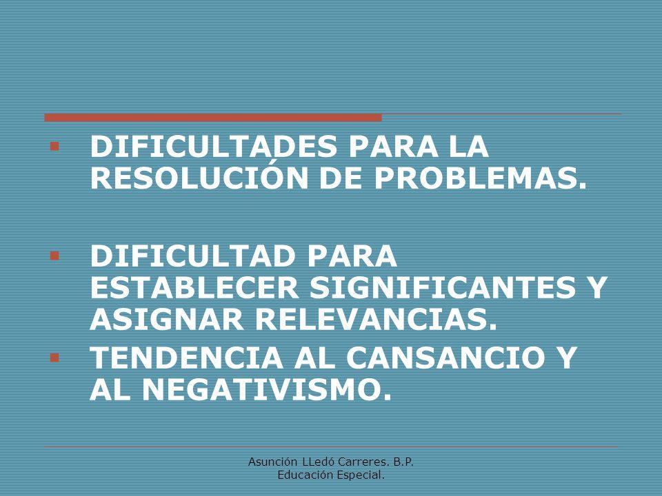 Asunción LLedó Carreres. B.P. Educación Especial. DIFICULTADES PARA LA RESOLUCIÓN DE PROBLEMAS. DIFICULTAD PARA ESTABLECER SIGNIFICANTES Y ASIGNAR REL