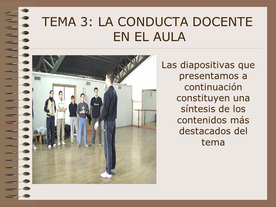 Las diapositivas que presentamos a continuación constituyen una síntesis de los contenidos más destacados del tema TEMA 3: LA CONDUCTA DOCENTE EN EL A