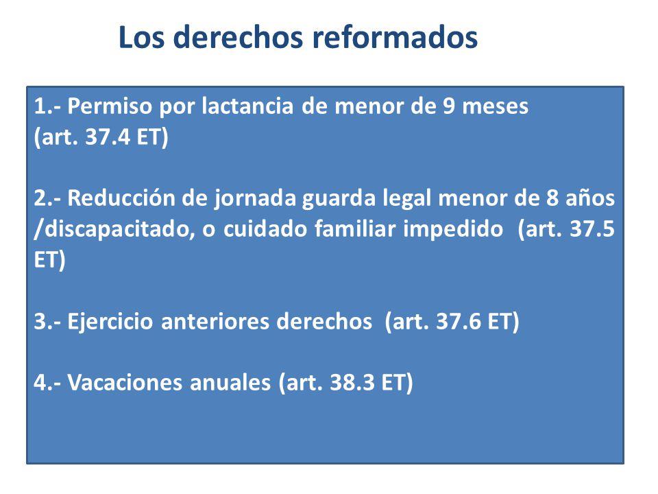 Los derechos reformados 1.- Permiso por lactancia de menor de 9 meses (art. 37.4 ET) 2.- Reducción de jornada guarda legal menor de 8 años /discapacit