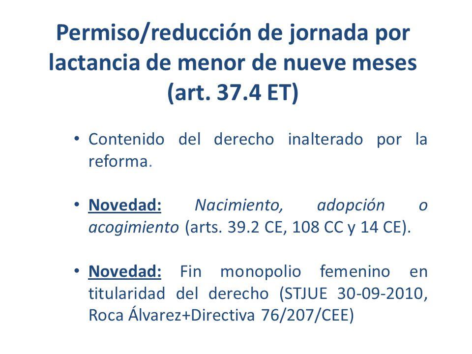 Permiso/reducción de jornada por lactancia de menor de nueve meses (art. 37.4 ET) Contenido del derecho inalterado por la reforma. Novedad: Nacimiento