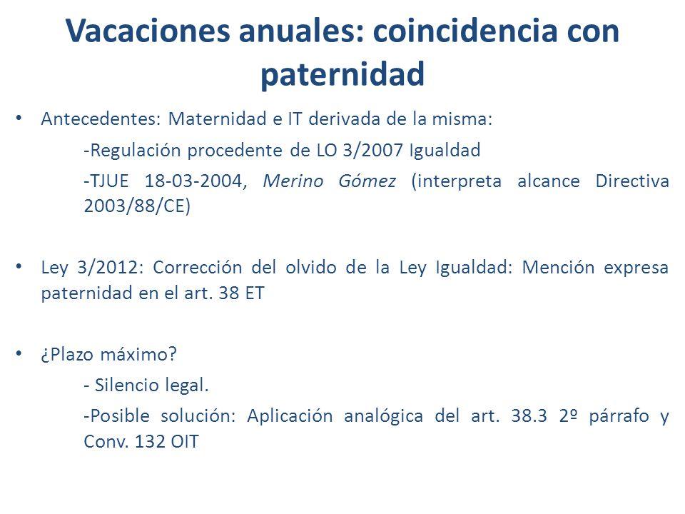 Vacaciones anuales: coincidencia con paternidad Antecedentes: Maternidad e IT derivada de la misma: -Regulación procedente de LO 3/2007 Igualdad -TJUE