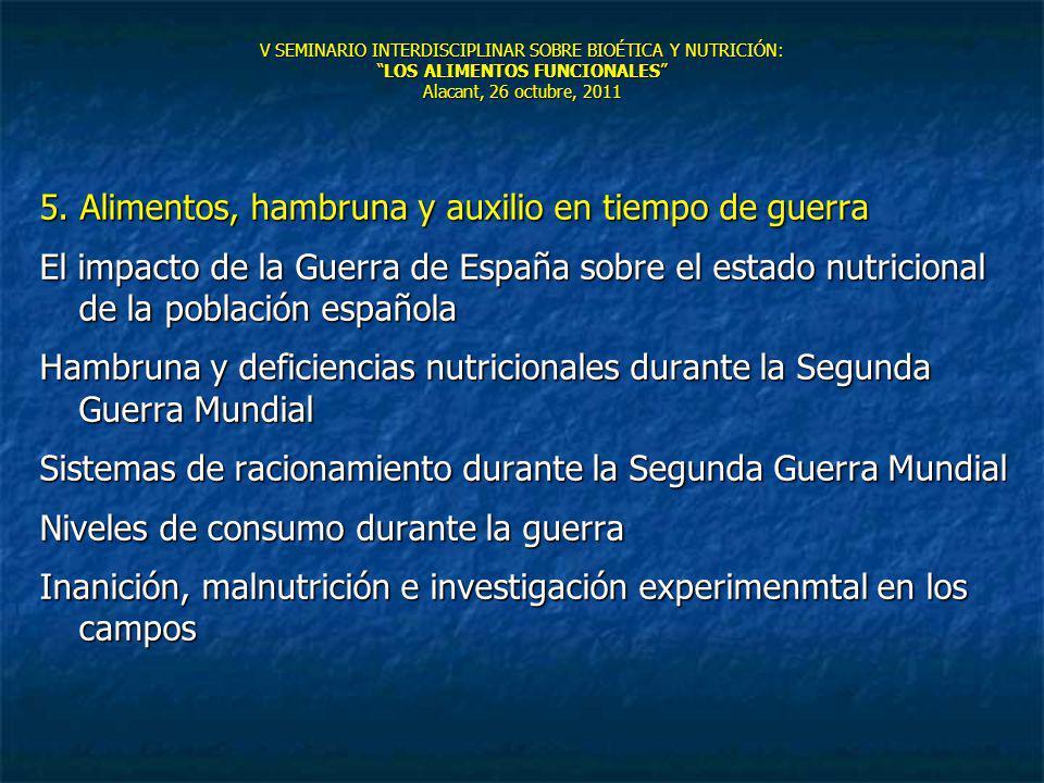 V SEMINARIO INTERDISCIPLINAR SOBRE BIOÉTICA Y NUTRICIÓN:LOS ALIMENTOS FUNCIONALES Alacant, 26 octubre, 2011 5. Alimentos, hambruna y auxilio en tiempo