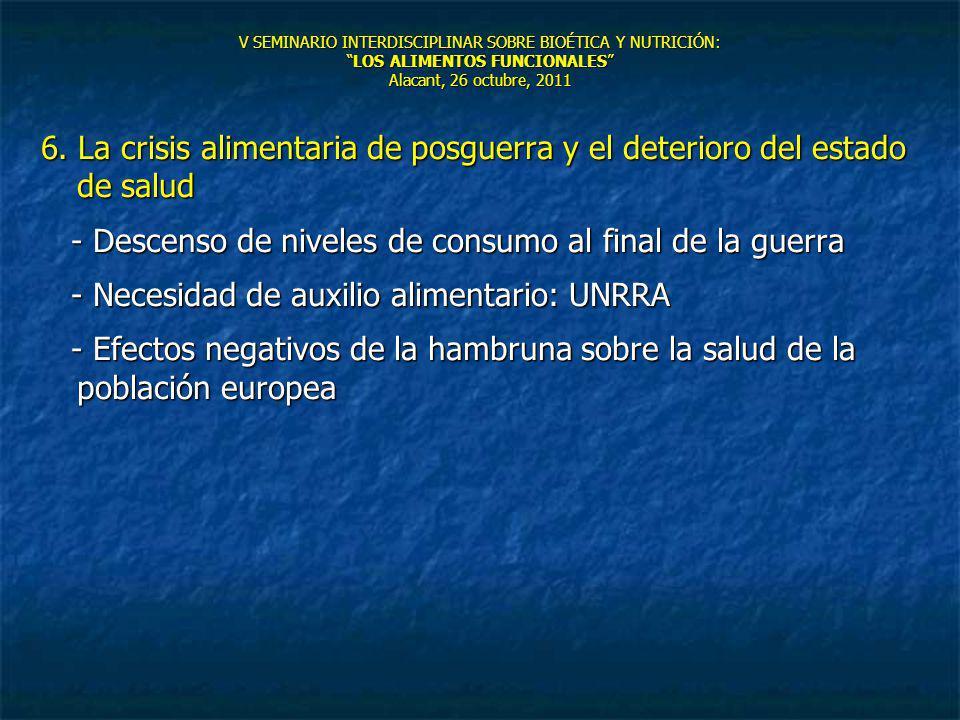 V SEMINARIO INTERDISCIPLINAR SOBRE BIOÉTICA Y NUTRICIÓN:LOS ALIMENTOS FUNCIONALES Alacant, 26 octubre, 2011 6. La crisis alimentaria de posguerra y el