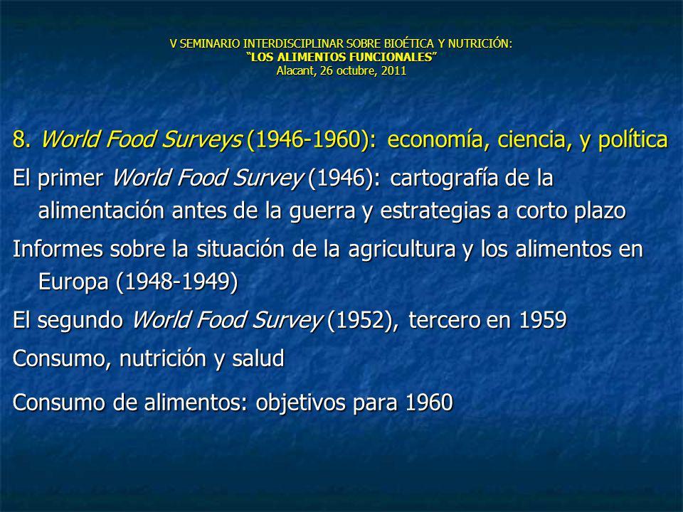 V SEMINARIO INTERDISCIPLINAR SOBRE BIOÉTICA Y NUTRICIÓN:LOS ALIMENTOS FUNCIONALES Alacant, 26 octubre, 2011 8. World Food Surveys (1946-1960): economí