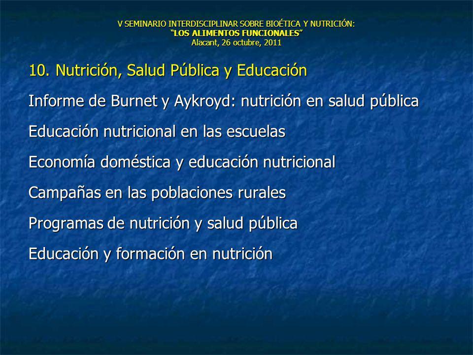 V SEMINARIO INTERDISCIPLINAR SOBRE BIOÉTICA Y NUTRICIÓN:LOS ALIMENTOS FUNCIONALES Alacant, 26 octubre, 2011 10. Nutrición, Salud Pública y Educación I