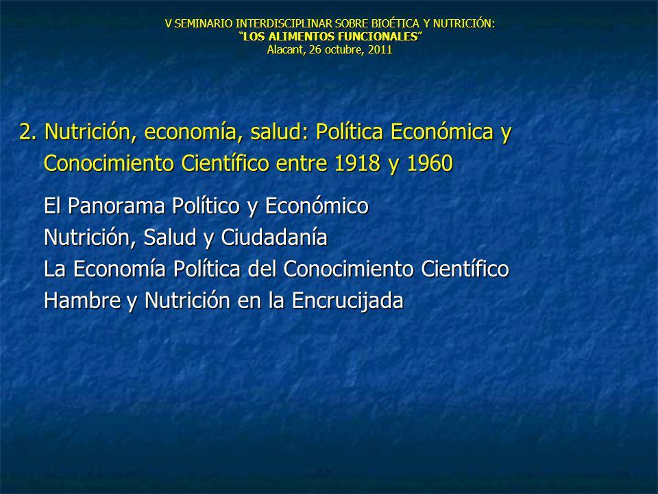 V SEMINARIO INTERDISCIPLINAR SOBRE BIOÉTICA Y NUTRICIÓN:LOS ALIMENTOS FUNCIONALES Alacant, 26 octubre, 2011 2. Nutrición, economía, salud: Política Ec