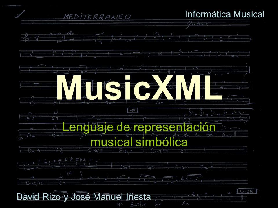 Metainformación Datos sobre el documento Sinfonía o álbum = varios ficheros distintos con igual work, distinto movimiento Datos sobre autor (música, texto), edición Información sobre los instrumentos (part): notación (abreviaturas) y MIDI (dispositivos)