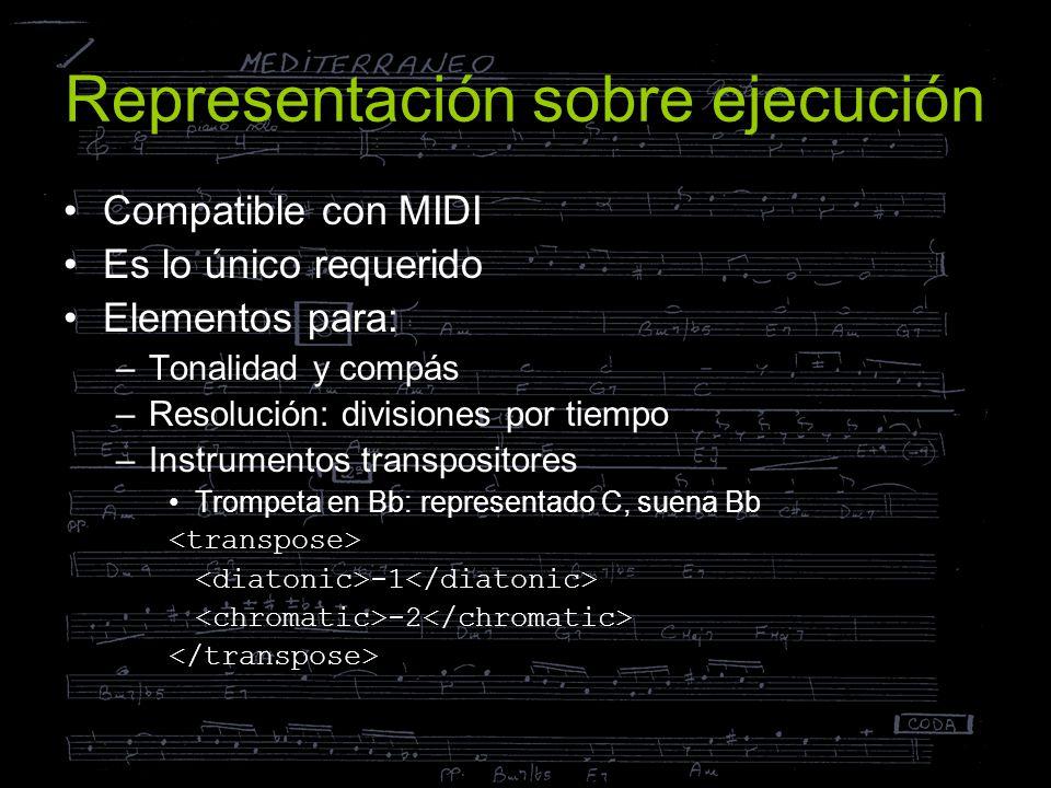 Representación sobre ejecución Compatible con MIDI Es lo único requerido Elementos para: –Tonalidad y compás –Resolución: divisiones por tiempo –Instr