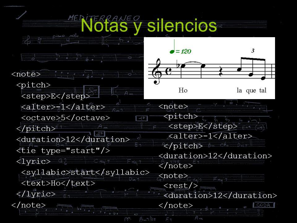 Notas y silencios E 5 12 start Ho E 12 12