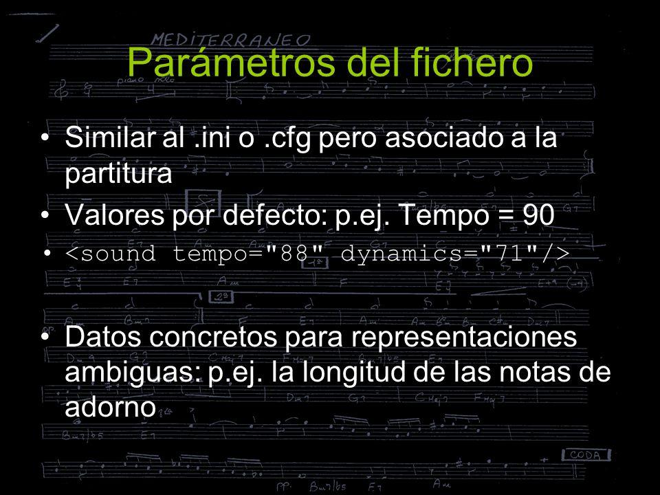 Parámetros del fichero Similar al.ini o.cfg pero asociado a la partitura Valores por defecto: p.ej. Tempo = 90 Datos concretos para representaciones a