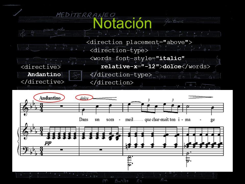 Notación Andantino <words font-style=