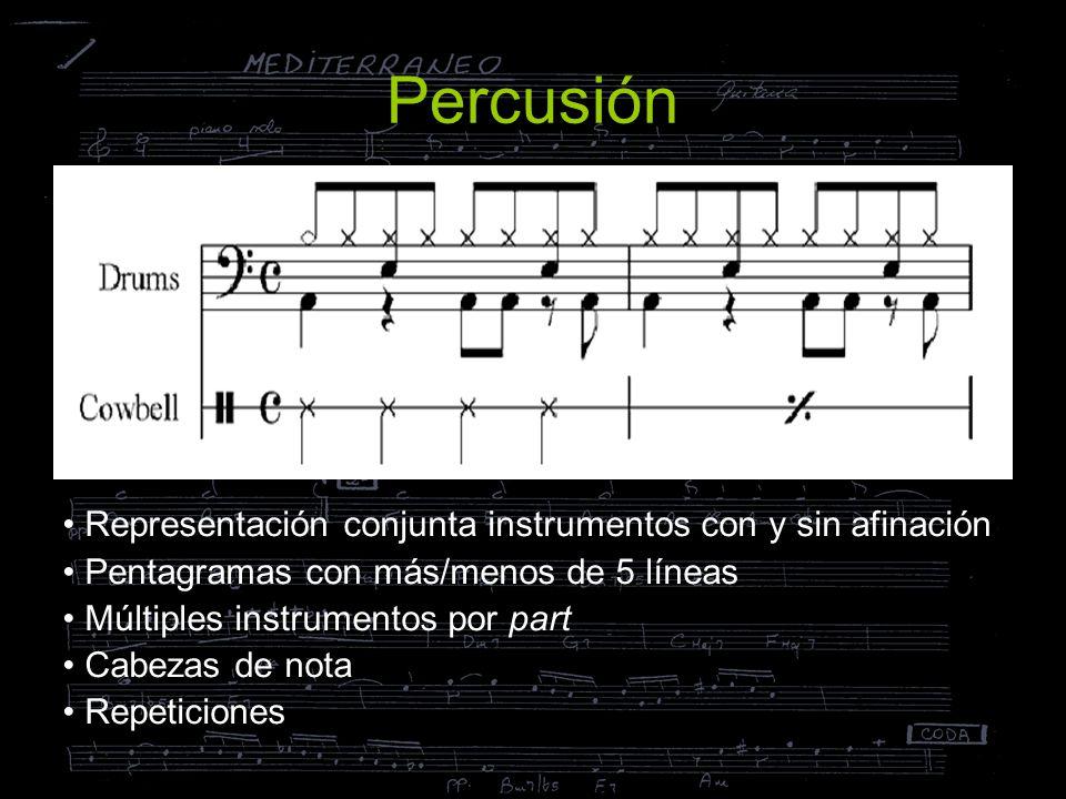 Percusión Representación conjunta instrumentos con y sin afinación Pentagramas con más/menos de 5 líneas Múltiples instrumentos por part Cabezas de no