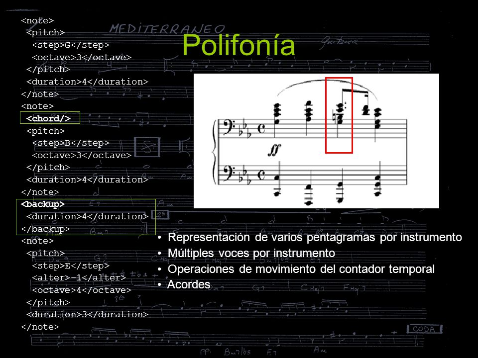 Polifonía Representación de varios pentagramas por instrumento Múltiples voces por instrumento Operaciones de movimiento del contador temporal Acordes