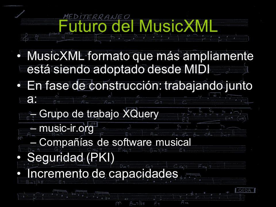 Futuro del MusicXML MusicXML formato que más ampliamente está siendo adoptado desde MIDI En fase de construcción: trabajando junto a: –Grupo de trabaj