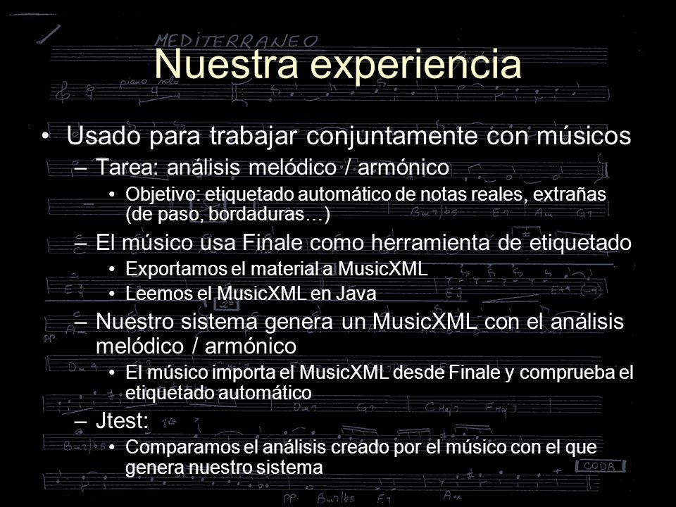 Nuestra experiencia Usado para trabajar conjuntamente con músicos –Tarea: análisis melódico / armónico Objetivo: etiquetado automático de notas reales