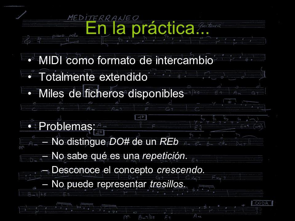MusicXML como formato de intercambio Pensado para representar información de –Ejecución: similar a MIDI –Notación: similar a NIFF (sistema de codificación) Basado en los formatos académicos: –MuseData: del CCARH de la Univ.