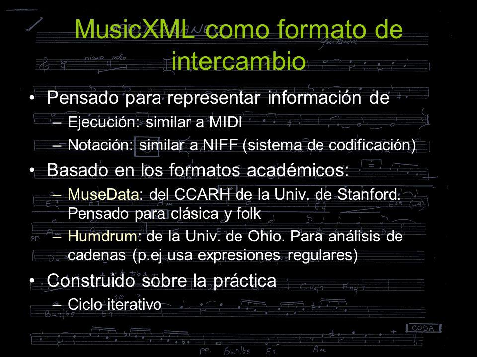 MusicXML como formato de intercambio Pensado para representar información de –Ejecución: similar a MIDI –Notación: similar a NIFF (sistema de codifica