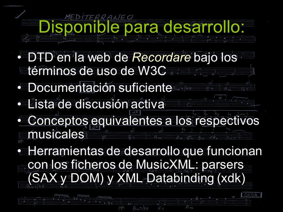 Disponible para desarrollo: DTD en la web de Recordare bajo los términos de uso de W3C Documentación suficiente Lista de discusión activa Conceptos eq
