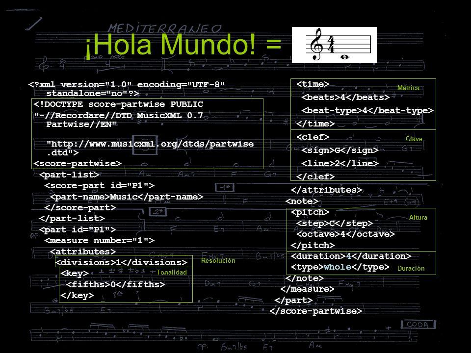 ¡Hola Mundo! = <!DOCTYPE score-partwise PUBLIC