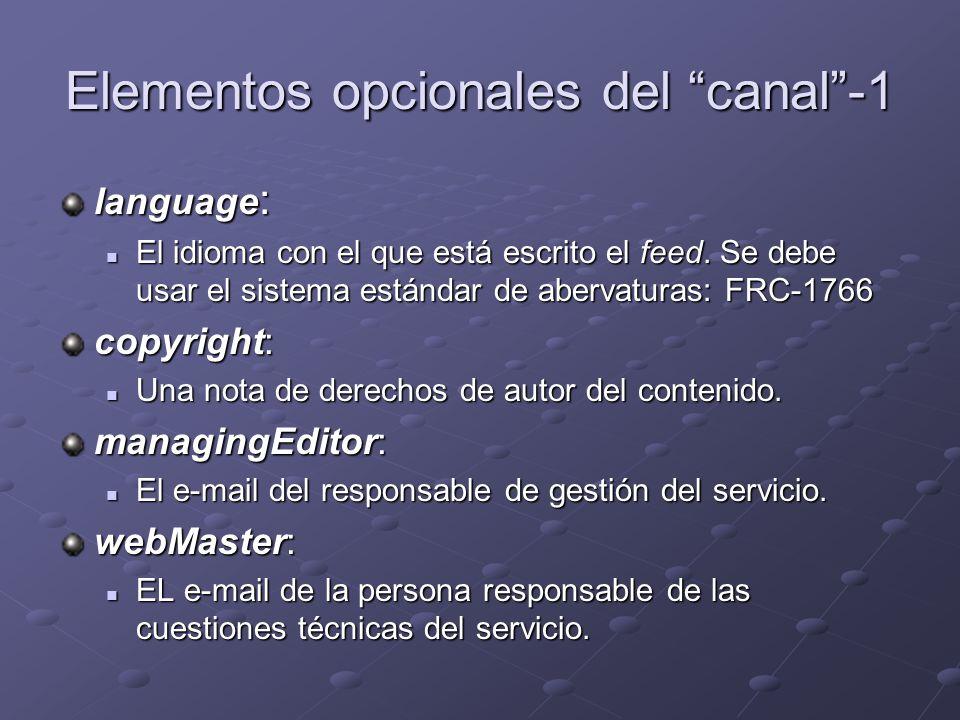 Elementos opcionales del canal-1 language : El idioma con el que está escrito el feed.