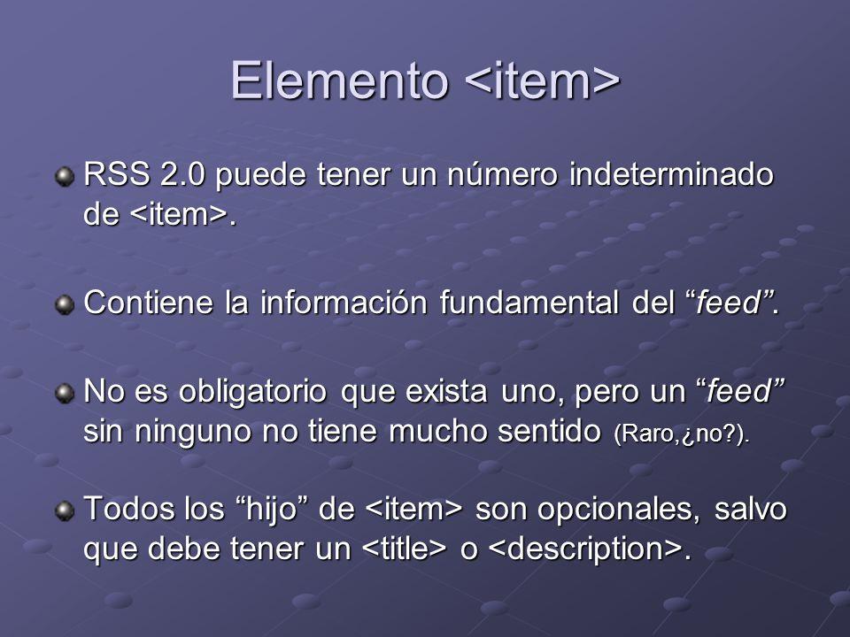 Elemento Elemento RSS 2.0 puede tener un número indeterminado de.