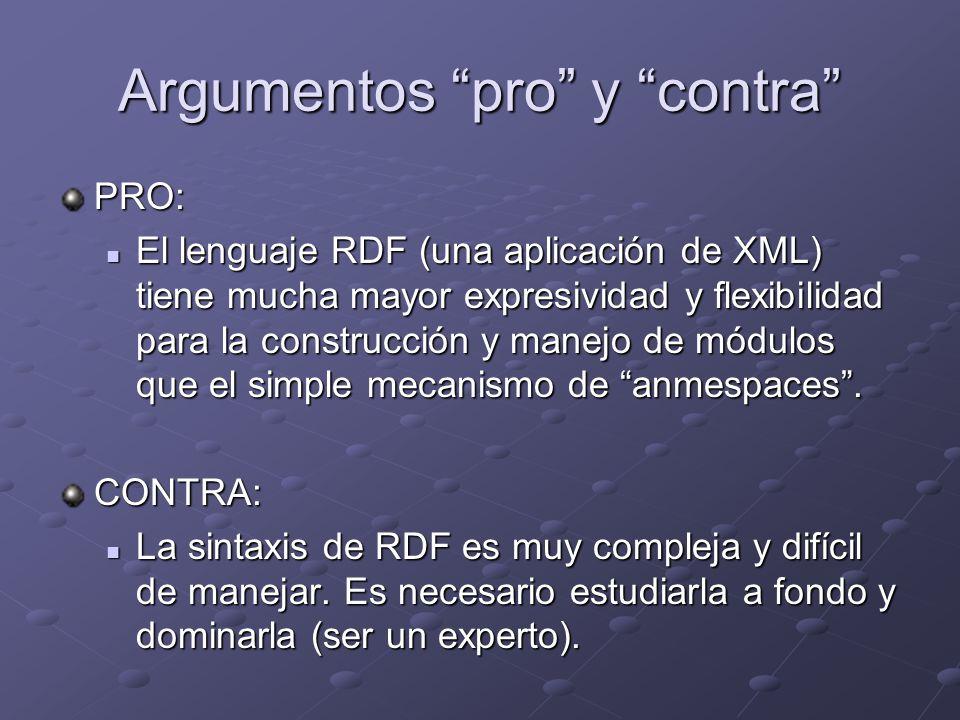 Argumentos pro y contra PRO: El lenguaje RDF (una aplicación de XML) tiene mucha mayor expresividad y flexibilidad para la construcción y manejo de módulos que el simple mecanismo de anmespaces.