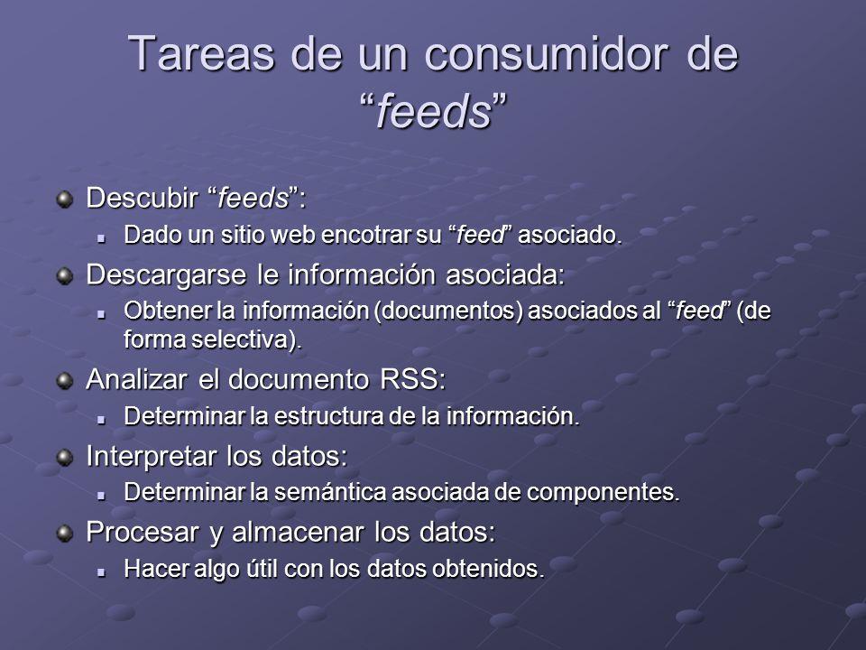 Tareas de un consumidor defeeds Descubir feeds: Dado un sitio web encotrar su feed asociado.