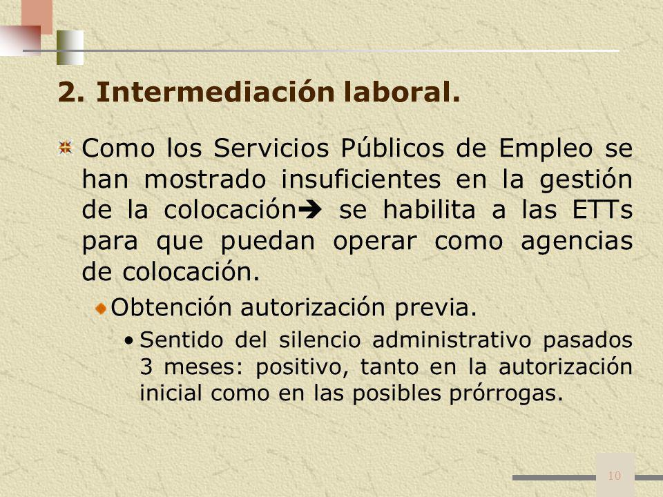2. Intermediación laboral.