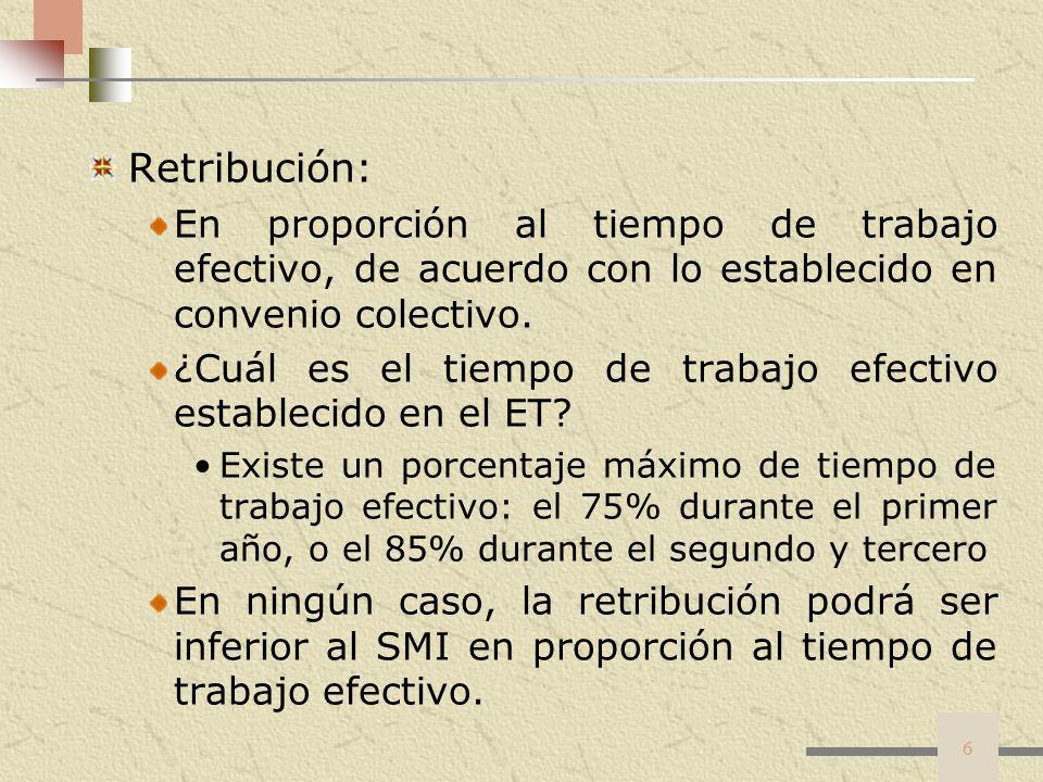 Retribución: En proporción al tiempo de trabajo efectivo, de acuerdo con lo establecido en convenio colectivo.