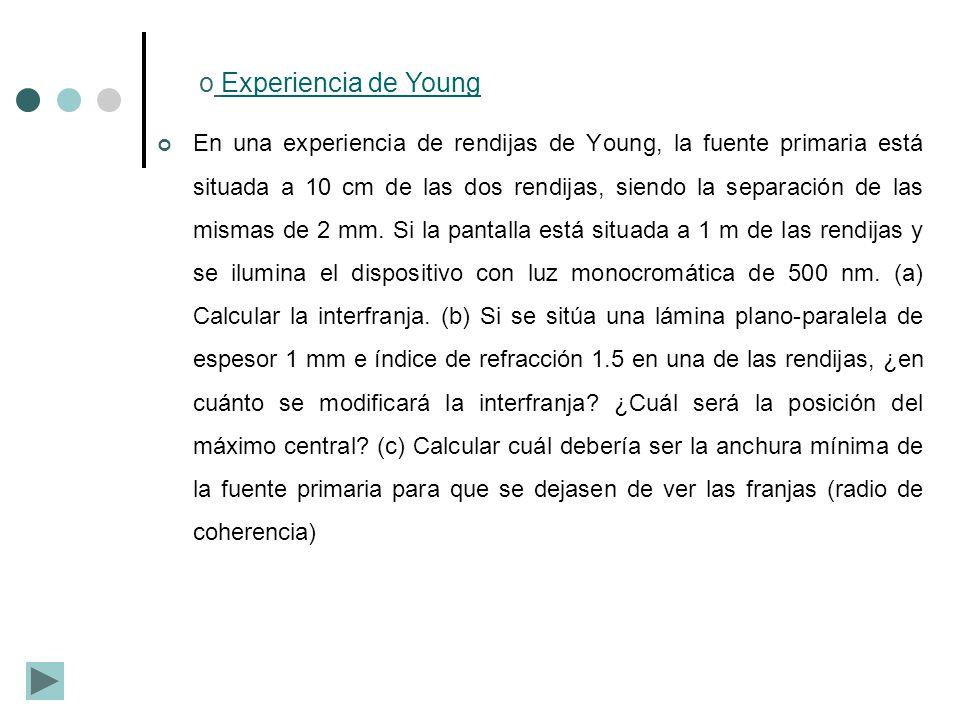 o Experiencia de YoungExperiencia de Young En una experiencia de rendijas de Young, la fuente primaria está situada a 10 cm de las dos rendijas, siend