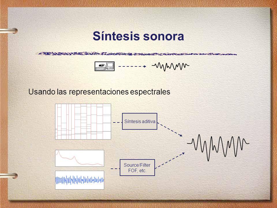 Usando las representaciones espectrales Source/Filter FOF, etc. Síntesis aditiva