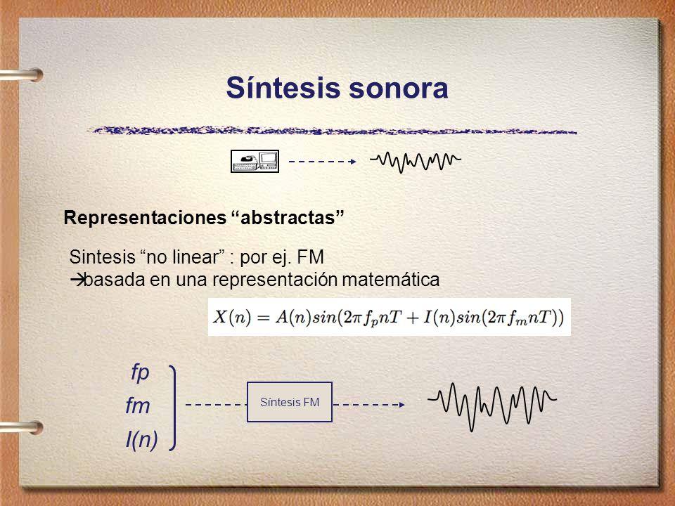 Síntesis sonora Representaciones abstractas Sintesis no linear : por ej.